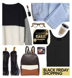 """Black Friday"" by euafyl ❤ liked on Polyvore featuring Dr. Martens, Oliver Peoples, Monki, Fiorelli, MAC Cosmetics and Christian Dior"