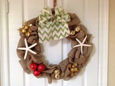 18 inch burlap wreath with easy to remove green and white chevron bow and decor.  This wreath can be purchased at SCDoorDecor on Etsy.
