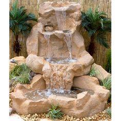 Paradise Spillway Water Outdoor Fountain - Fountains at Hayneedle Garden Waterfall, Waterfall Fountain, Backyard Water Feature, Ponds Backyard, Backyard Landscaping, Garden Ponds, Landscaping Ideas, Garden Water Fountains, Water Garden