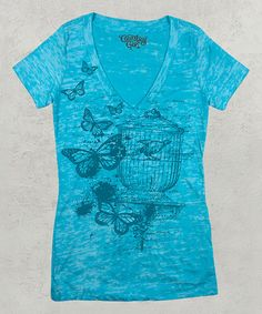 Take a look at this Tahiti Blue Birdcage Short-Sleeve Tee - Women on zulily today!