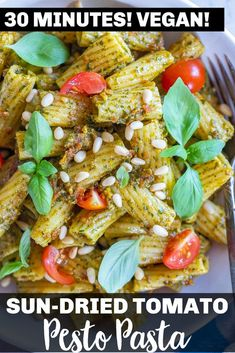 This Sun-Dried Tomato Pesto Pasta is restaurant quality but only takes about 20 minute to whip up at home! It's so flavorful and everyone will be impressed! It just happens to be vegan and can easily be made gluten free. Great for an easy vegan weeknight dinner! #sundriedtomato #pestopasta #veganpasta #20minutedinner Easy Vegan Dinner, Vegetarian Recipes Dinner, Delicious Dinner Recipes, Vegan Dinners, Vegan Recipes, Tomato Pesto, Pesto Pasta, Pesto Recipe, Vegan Pasta