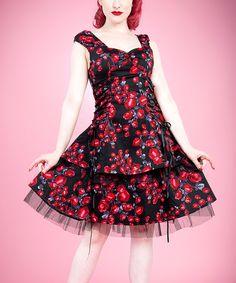 Black Red Rose Peplum Dress