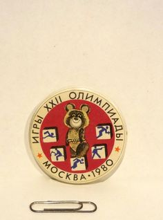 Vintage Pin Pinback 1980 Mockba Olympics Russia Souvenir Memorabilia 2 Inches Around Misha The Bear