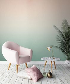 two-color-wall design-ombre-wall color wallpaper walls-creative-make - Do it yourself decoration Murs Pastel, Deco Pastel, Pastel Decor, Ombre Wallpapers, Home And Deco, Paint Designs, New Room, Diy Home Decor, Decor Crafts