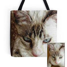 Personalized animal portrait Tote bag/ yoga bag beach Yoga Bag, Pet Portraits, Vintage, Cats, Beach, Animals, Unique Jewelry, Gatos, Animales