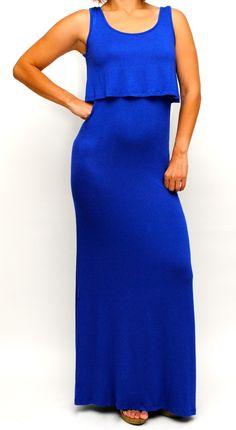 Blue Racer Back Maxi Dress