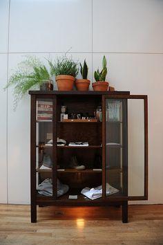 glass door cabinet.