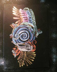 """4 mentions J'aime, 1 commentaires - Nathalie Boverat (@nathyfantasy) sur Instagram: """"Dragon et Pégase, histoire de rester mes nouvelles aquarelles interferances le résultat est…"""" Dragon, Brooch, Illustrations, Instagram, Water Colors, Brooches, Illustration, Dragons, Illustrators"""