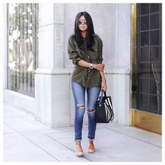 Cropped jeans, army green button up shirt, neutral flats.  #JoesJeans.