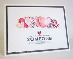2014 This card showcases the Hearts A Flutter Stamps and Framelits as well as a punch and a Sale-A-Bration stamp set called See Ya Later.