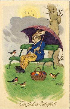 Ostern, Hase vermenschlicht, Regenschirm, Fritz Baumgarten signiert, 1926, TOP