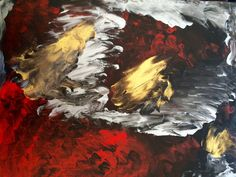This is an original abstract modern contemporary acrylic painting using red gold silver and black acrylic paint, on canvas. Suitable as a wall