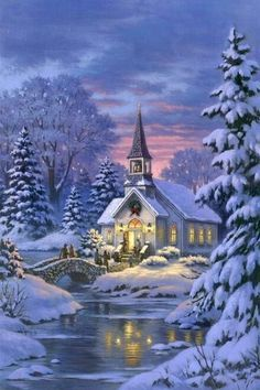 Beautiful evening scene of a church among snow covered trees