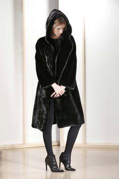 Black Mink Fur Hooded Coat