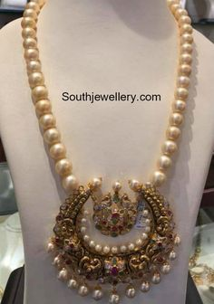 South Sea pearl Mala with Chandbali Pendant photo Ruby Necklace Designs, Jewelry Design Earrings, Gold Jewellery Design, Emerald Jewelry, Bead Jewellery, Gold Jewelry, Gold Necklaces, Temple Jewellery, Pearl Jewelry