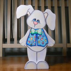 "Spring Easter Boy Bunny hand painted wood craft shelf sitter ""Bentley"" on Etsy, $25.00"
