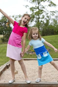 Make a Color-Block Dress with pockets (...from old Tshirts) --- Make It and Love It