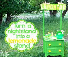 repurposed nightstand into lemonade stand, outdoor living, painted furniture, repurposing upcycling