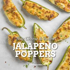 Jalapeno Poppers with Bacon & Blue Cheese The ultimate baked jalapeno poppers s.- - Jalapeno Poppers with Bacon & Blue Cheese The ultimate baked jalapeno poppers stuffed with savory Blue Cheese. This party appetizer is ready Jalapeno Bacon, Jalapeno Popper Recipes, Stuffed Jalapenos With Bacon, Stuffed Hot Peppers, Jalepeno Poppers, Bacon Dip, Spicy Appetizers, Appetizers For Party, Appetizer Recipes