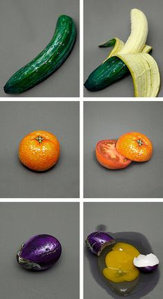 Artist Hiraku Cho paints the outside of fruits and veggies to disguise them as a different piece of produce. hikarucho.com