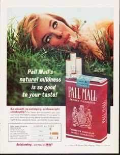 """Description: 1963 PALL MALL CIGARETTES vintage magazine advertisement """"natural mildness"""" -- Pall Mall's natural mildness is so good to your taste! -- Size: The dimensions of the full-page advertisement are approximately 10.5 inches x 13.5 inches (26.75 cm x 34.25 cm). Condition: This original vintage full-page advertisement is in Excellent Condition unless otherwise noted."""