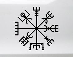 A permanent vinyl decal for your vehicle or pretty much any other surface you deem worthy. Vegvisir, widely known as the runic or Nordic compass. It is thought to provide protection and guidance during one's travels. Viking Compass Tattoo, Runic Compass, Viking Tattoos, Warrior Tattoos, Norse Runes, Viking Symbols, Viking Runes, Mayan Symbols, Egyptian Symbols