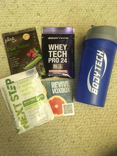 Different protein powders and a shaker bottle! 😊