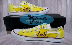 Pikachu Pokemon converse hand painted shoes anime by PaintMyShoes2
