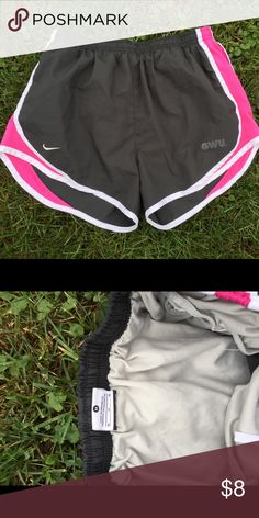 Nike GWU Running Shorts Size Medium Size medium. Lined. Gently preowned. Be sure to view the other items in our closet. We offer  women's, Mens and kids items in a variety of sizes. Bundle and save!! We love reasonable offers!! Thank you for viewing our item!! Nike Shorts