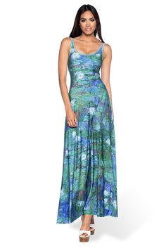 ** Blue Water Lilies Maxi Dress by Black Milk - M