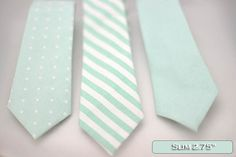 Set of solid-pattern mint green slim ties, neck-tie, white stripe, mint, polka dot theme wedding, mint accessory decoration, groomsmen,men