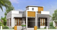 house design single floor simple with modern home designs exterior and paint colours for house exterior and small bungalow house modern design Single Floor House Design, House Front Design, Small House Design, Modern House Design, Independent House, Front View Of House, Flat Roof House, Small Bungalow, Indian House Plans