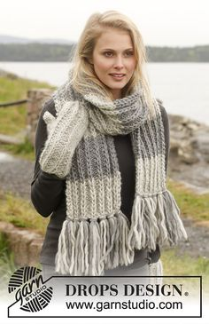 Ravelry: 0-953 Scarf with false English rib by DROPS design
