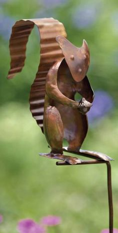 Metal Squirrel Garden Stake