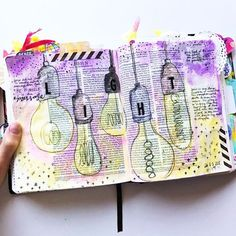 First Bible Journal page of 2017, just couldn't resist some vintage light bulbs!
