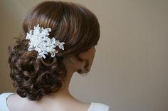 """Haarschmuck & Kopfputz - Braut 3D Spitzen Haarschmuck """"Myra"""" ivory - ein Designerstück von Elizabethmode bei DaWanda"""