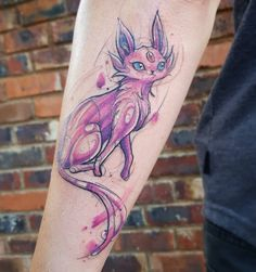 Watercolour Espeon Pokemon tattoo by Rocio Todisco, done in Johannesburg at the Black Lodge Umbreon And Espeon, Sketchy Tattoo, Pokemon Tattoo, Watercolor Tattoo, Watercolour, All Pokemon, Tatting, Mini, Otaku