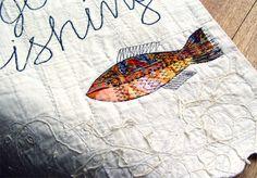Gone Fishing  Textile Sign  Hut Decor  Applique by BozenaWojtaszek