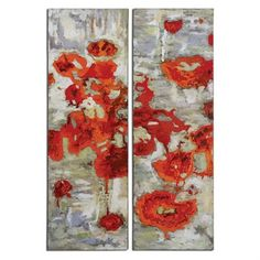Uttermost Scarlet Poppies Floral Wall Art (2 Piece Set)