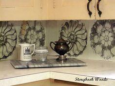 Turn placemats into a DIY Kitchen Backsplash