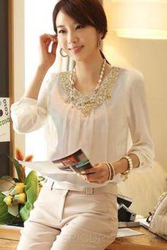 Elegant Lace Collar Long Sleeve  Blouse Blouses