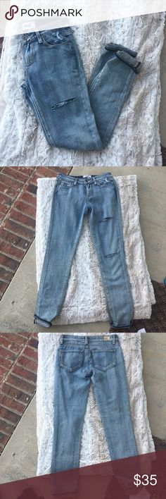 Paige Jeans Size 23 (1/2) Skinny jeans Two rips on left leg New with no tags  Items 100% Authentic Will ship between 1-3 days.  *Follow me for updates and price changes* X I don't hold items X X Don't ask for lowest X  X Don't low ball me X Paige Jeans Jeans Skinny