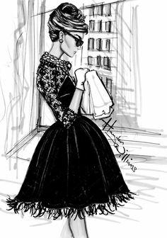 Imagem de audrey hepburn, drawing, and black and white