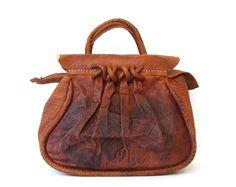 Vintage Brown Embossed Leather Satchel Purse Tote