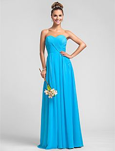 Sheath/Column Sweetheart Floor-length Criss Cross Chiffon Br... – USD $ 119.99