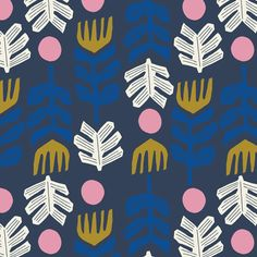Big foot in Navy Lore Leah Duncan Cloud 9 by TheCraftyMastermind Textiles, Textile Patterns, Textile Prints, Textile Design, Lino Prints, Block Prints, Textile Art, Pretty Patterns, Color Patterns