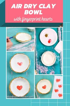 This sweet air dry clay bowl is finished with fingerprint hearts- a perfect gift for kids to give!
