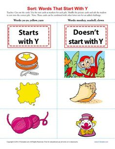 Sort the Words That Start With The Letter Y - Printable Worksheet Lesson Activity