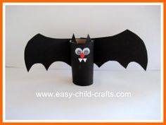 Create a Halloween bat utilzing recycled materials. #HappyHalloween #bat #kindergarten #craft #preschool #prek #kids #children #decor #decoration #party #toiletpaper #DIY via http://www.easy-child-crafts.com/images/craft-ideas-for-halloween.jpg