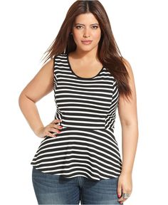Plus Size Striped Peplum Top.  If you sew this is McCall's 6754.  They feature the similar top on the pattern cover.